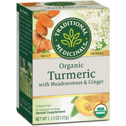 Organic Turmeric Tea with Meadowsweet & Ginger, 16 Tea Bags, Traditional Medicinals Teas