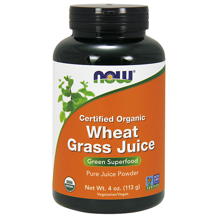 Organic Wheat Grass Juice Powder, 4 oz, NOW Foods
