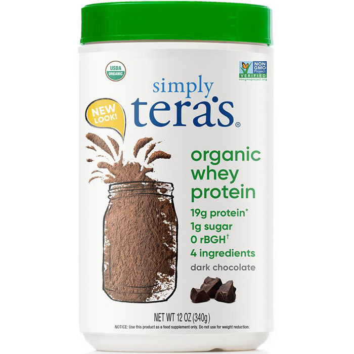 Organic Whey Protein - Fair Trade Certified Dark Chocolate Cocoa, 12 oz, Teras Whey