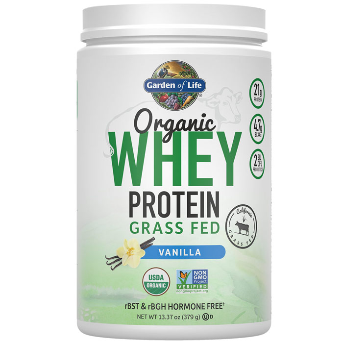 Organic Whey Protein Grass Fed, Vanilla, 13.37 oz (379 g), Garden of Life