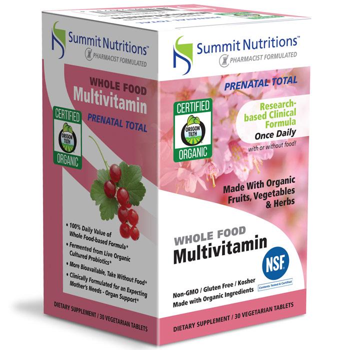 Organic Whole Food Prenatal Total Multivitamin, 30 Vegetarian Tablets, Summit Nutritions