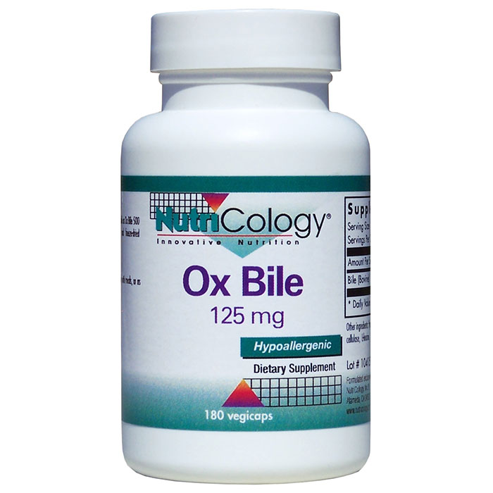 Ox Bile Supplement 125 mg, 180 Capsules, NutriCology
