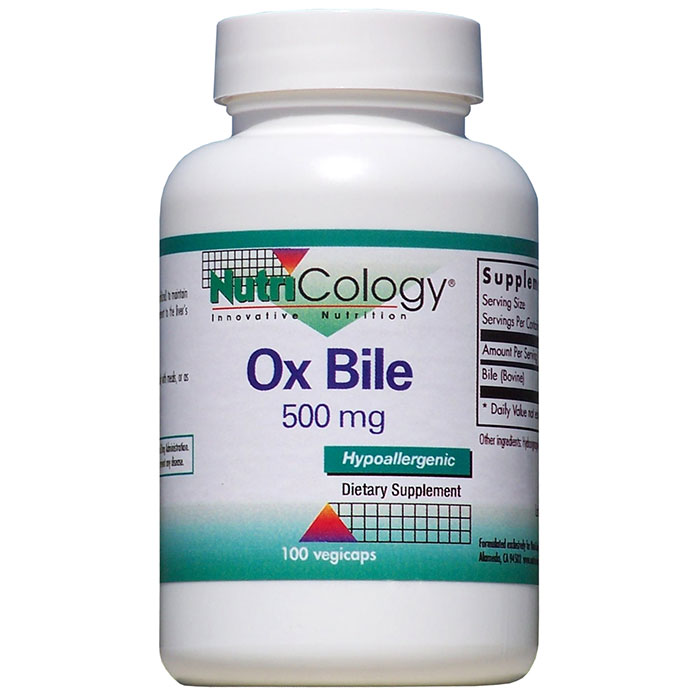 Ox Bile 500mg 100 caps from NutriCology