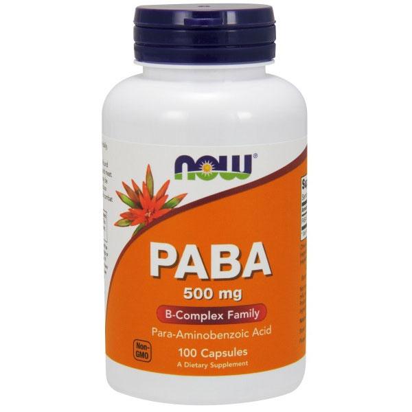 PABA 500mg (Para-aminobenzoic Acid) 100 Caps, NOW Foods