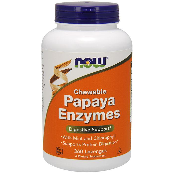 Papaya Enzyme Chewable Vegetarian 360 Lozenges, NOW Foods
