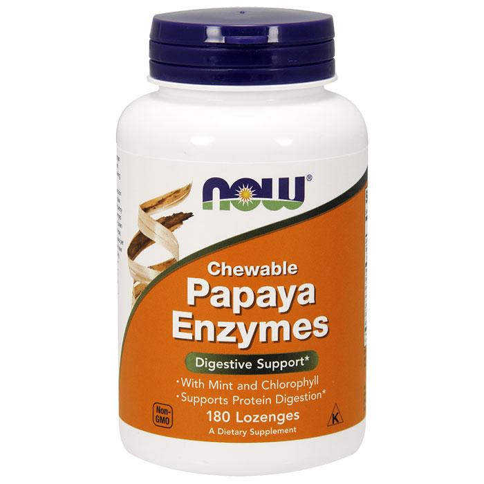 Papaya Enzyme Chewable Vegetarian 180 Lozenges, NOW Foods