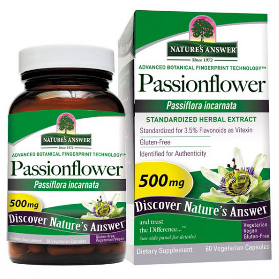 Passionflower Extract Standardized, 60 Vegetarian Capsules, Natures Answer