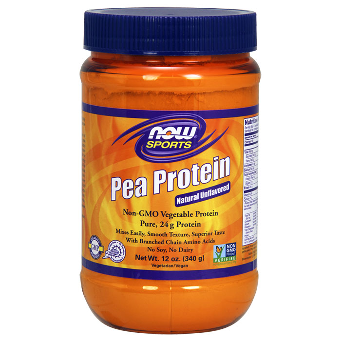 Pea Protein Natural Unflavored, 12 oz, NOW Foods