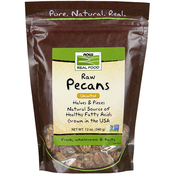 Pecans Halves and Pieces, Raw 12 oz, NOW Foods
