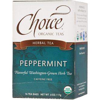 Peppermint Herbal Tea, Caffeine Free, 16 Tea Bags, Choice Organic Teas