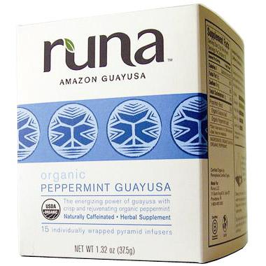 Organic Amazonian Peppermint Guayusa Tea, 16 Tea Bags x 6 Box, Runa Tea