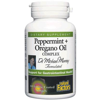 Peppermint Plus Oregano Oil Complex, 60 Enteric Coated Softgels, Natural Factors