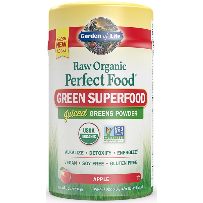 Perfect Food Raw Organic Green Superfood Powder - Apple, 8.2 oz (234 g), Garden of Life