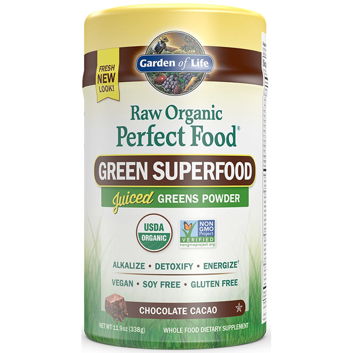 Perfect Food Raw Organic Green Superfood Powder - Chocolate Cacao, 11.9 oz (338 g), Garden of Life