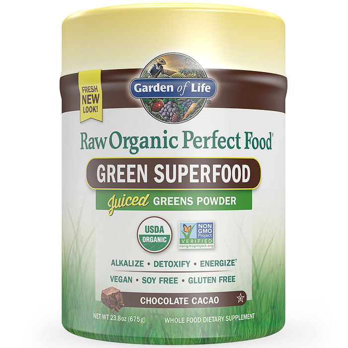 Perfect Food Raw Organic Green Superfood Powder - Chocolate Cacao, 23.8 oz (675 g), Garden of Life
