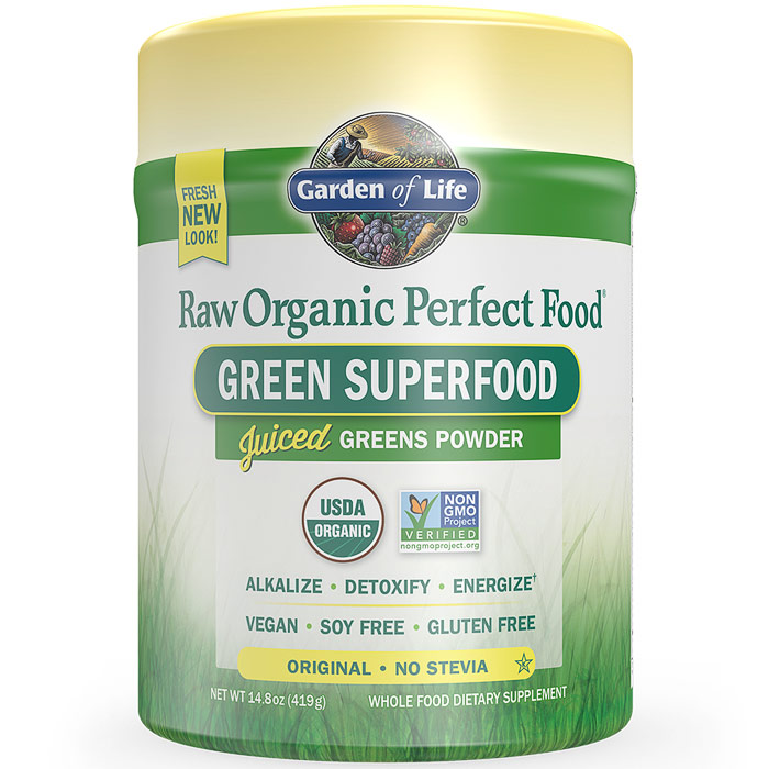 Perfect Food Raw Organic Green Superfood Powder - Original, 14.8 oz (419 g), Garden of Life