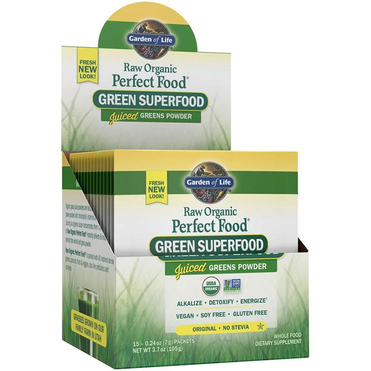 Perfect Food Raw Organic Green Superfood Juiced Greens Powder - Original, 15 Packets (7 g Each), Garden of Life