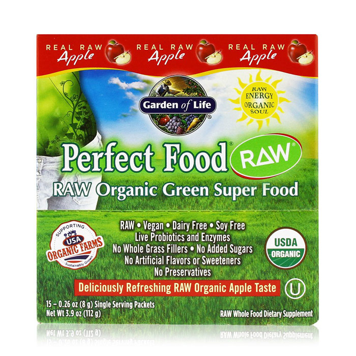 Perfect Food RAW Organic Green Super Food Powder - Apple, 15 Packets (8 g Each), Garden of Life