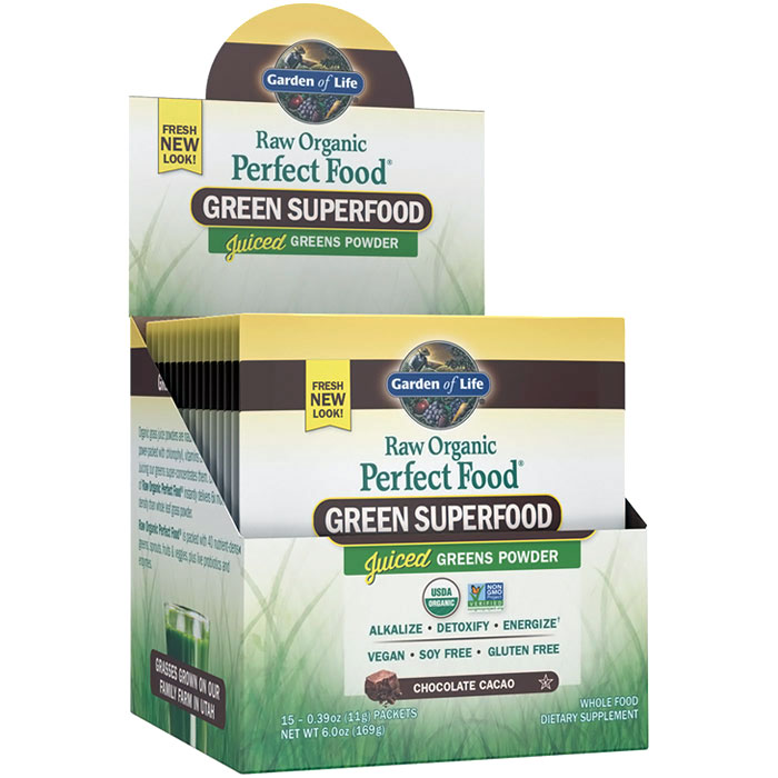 Perfect Food Raw Organic Green Superfood Juiced Greens Powder - Chocolate Cacao, 15 Packets (11 g Each), Garden of Life