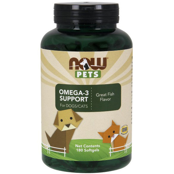 Pets Omega-3 Support, Great Fish Flavor, 180 Softgels, NOW Foods