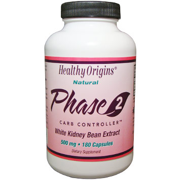 Natural Phase 2 Carb Controller, 500 mg, 180 Capsules, Healthy Origins