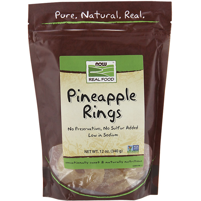 Pineapple Rings Dried 12 oz, NOW Foods