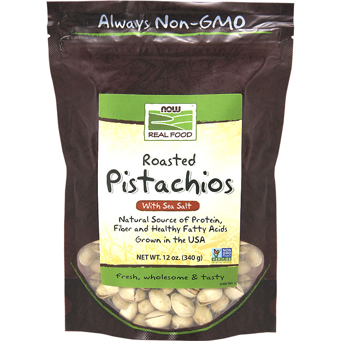 Pistachios Roasted and Salted 12 oz, NOW Foods