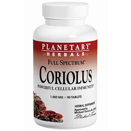 Planetary Ayurvedics Coriolus Full Spectrum, 90 Tablets, Planetary Herbals
