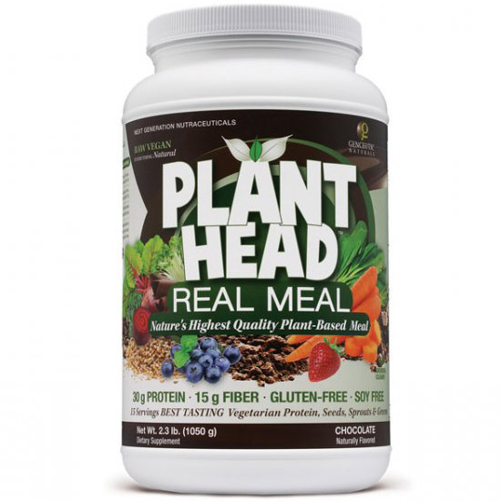 Plant Head Real Meal - Chocolate, Plant-Based Meal Shake, 2.3 lb, Genceutic Naturals