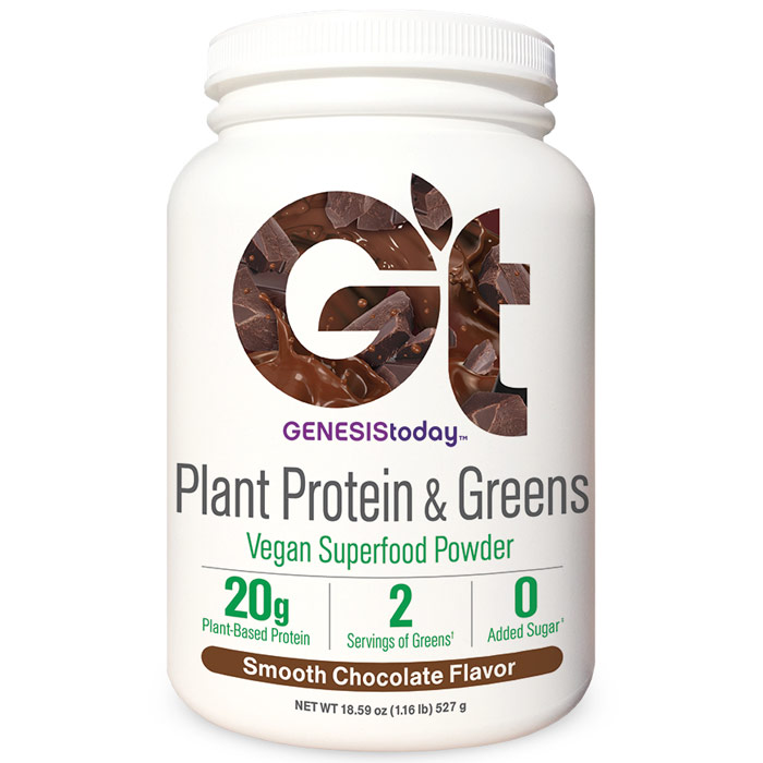 Plant Protein & Greens - Smooth Chocolate, 17 Servings, Genesis Today
