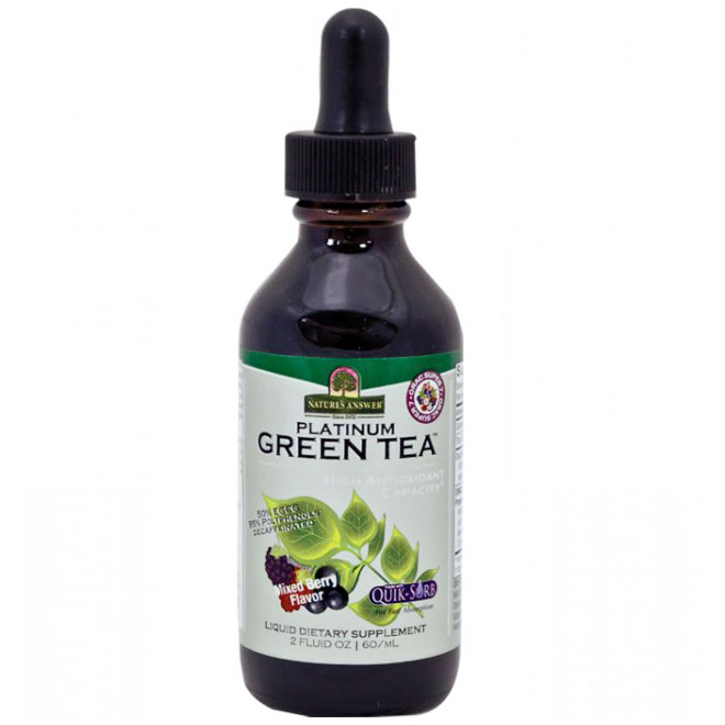 Platinum Green Tea Liquid Decaffeinated - Mixed Berry, 2 oz, Natures Answer