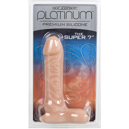 Platinum Premium Silicone, The Super 7 Inch Dong with Ball, White, Doc Johnson