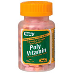 Poly Vitamin, 100 Chewable Tablets, Watson Rugby