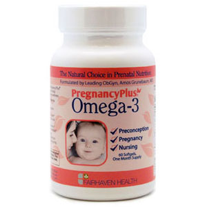 Pregnancy Plus Omega-3, Prenatal Care Fish Oil, 60 Softgels, Fairhaven Health