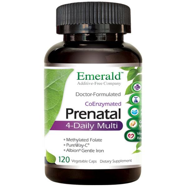 Prenatal 4-Daily Multi, Multi Vitamin Formula, 120 Vegetable Capsules, Emerald Labs