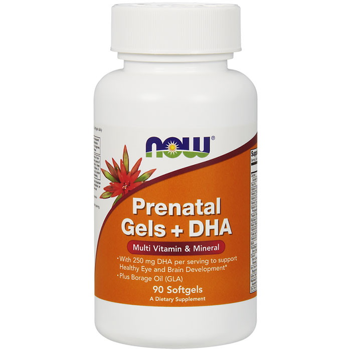 Prenatal Gels + DHA, Multivitamins & Minerals, 90 Softgels, NOW Foods