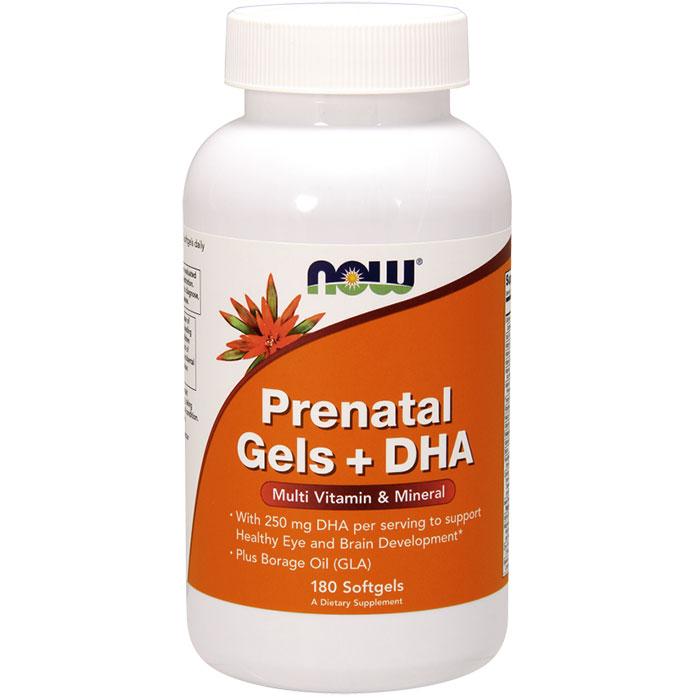 Prenatal Gels + DHA, Multiple Vitamins, 180 Softgels, NOW Foods