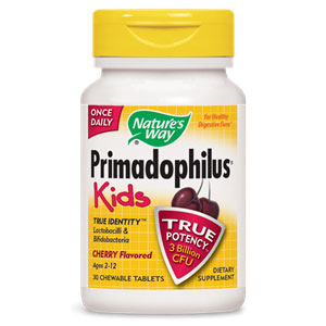 Primadophilus Kids Probiotic, Cherry Chew, 30 Chewable Tablets, Natures Way
