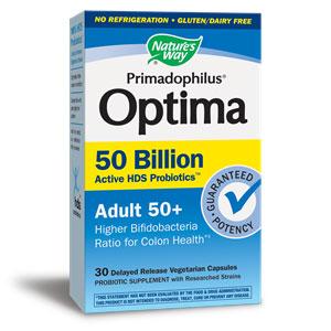 Primadophilus Optima Probiotics Adult 50+, Shelf Stable, 30 Vegetarian Capsules, Natures Way