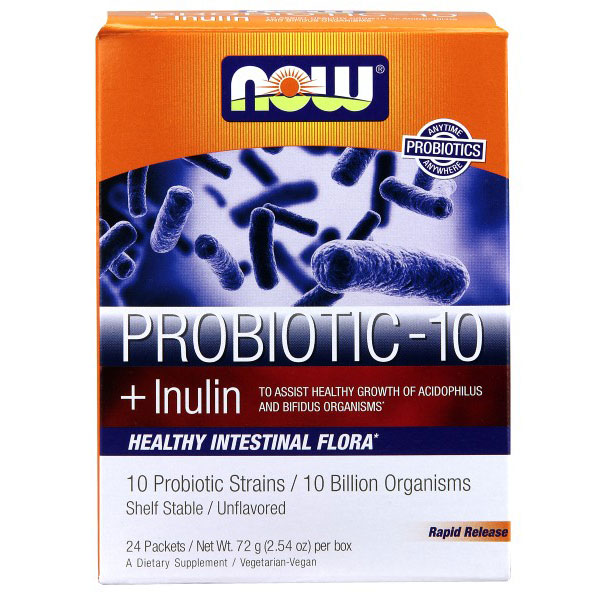 Probiotic-10 Powder Sticks, 10 Probiotic Strains, 24 Packets, NOW Foods