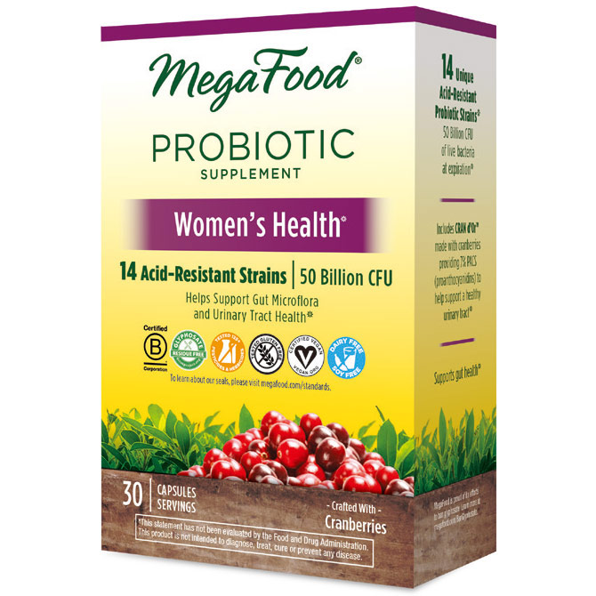 Shelf Stable Probiotic Supplement - Womens Health, 30 Capsules, MegaFood