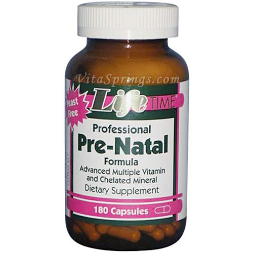 Professional Pre-Natal, Recommended in Fertility Cycles and Nutrition, 180 Capsules, LifeTime