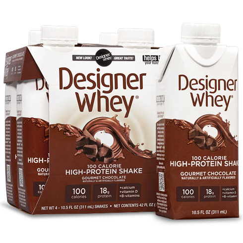 High-Protein Shake, Gourmet Chocolate, 10.5 oz x 4 Shakes, Designer Whey