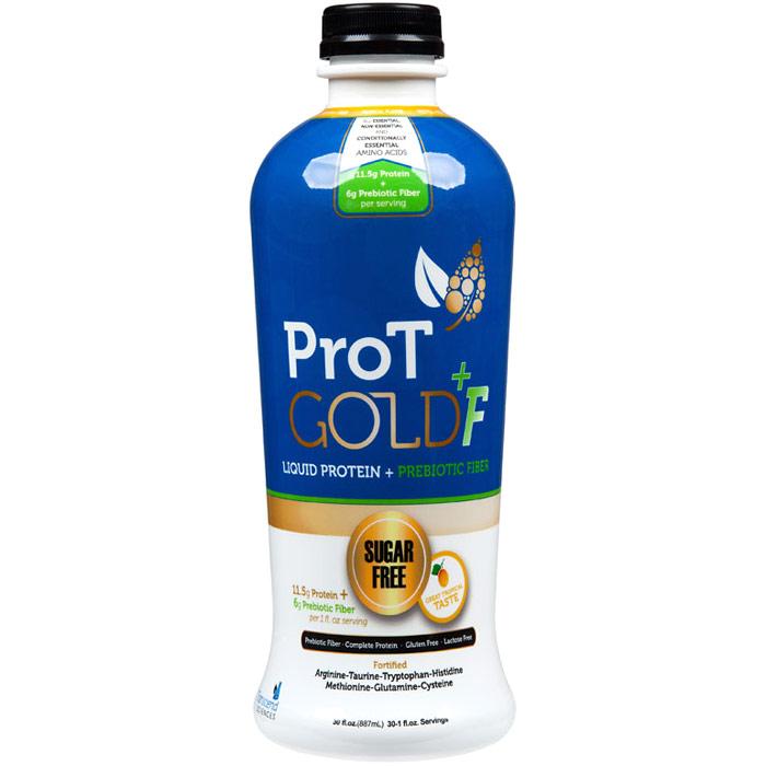 ProT Gold + F (Liquid Protein + Prebiotic Fiber) - Tropical Flavor, 30 oz, Transcend Sciences