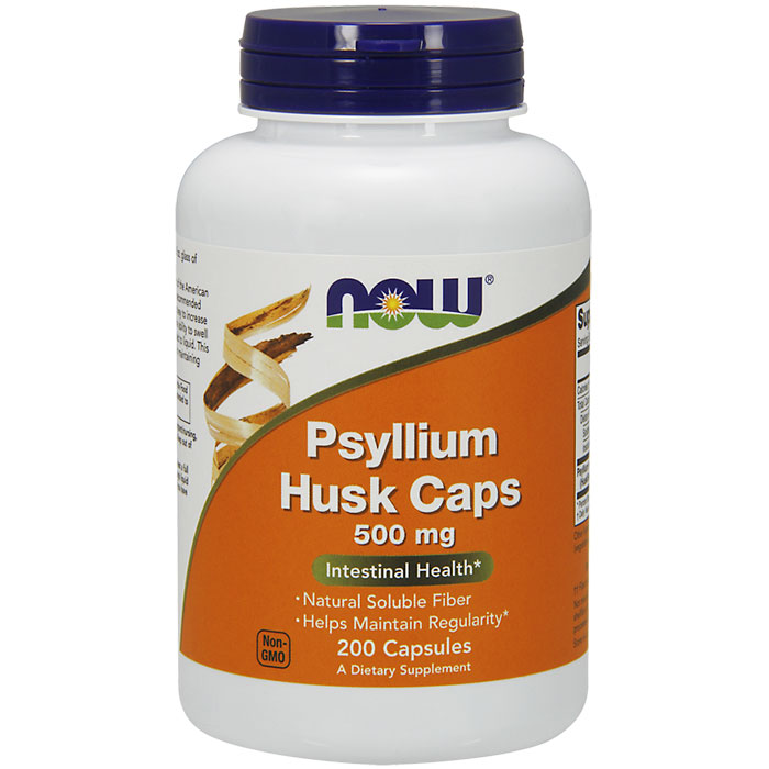 Psyllium Husk Caps 500 mg, 200 Veg Capsules, NOW Foods