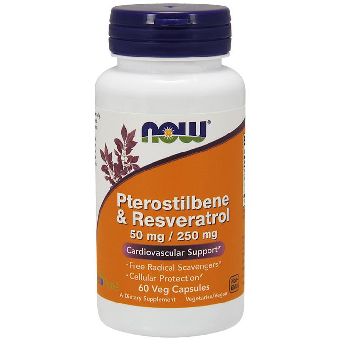 Pterostilbene & Resveratrol 50 mg/250 mg, 60 Vegetarian Capsules, NOW Foods