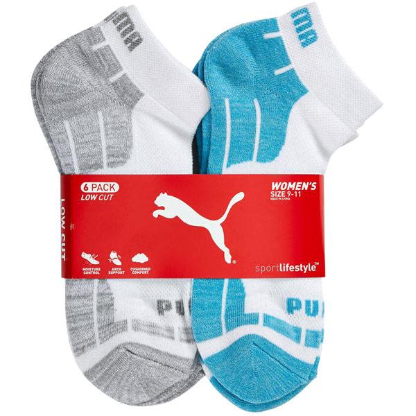 Puma Womens Low Cut Socks - Blue, 6 Pack