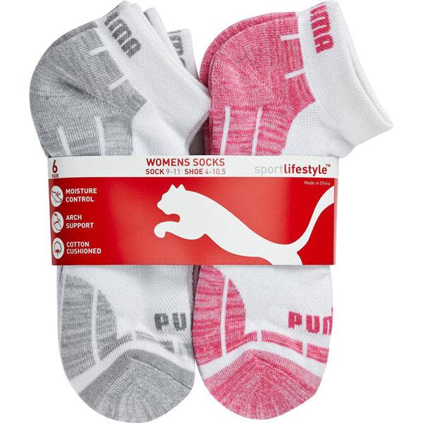 Puma Womens Low Cut Socks - Pink, 6 Pack