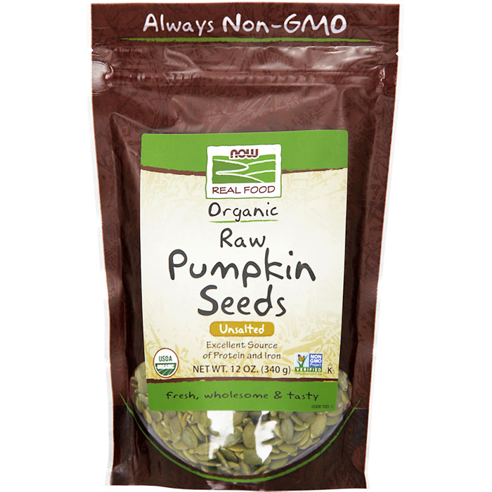 Organic Pumpkin Seeds, Raw & Unsalted, 12 oz, NOW Foods