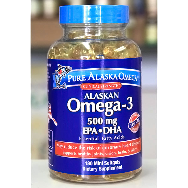 Pure Alaska Omega Alaskan Omega-3 Fish Oil, 500 mg EPA & DHA, 180 Mini Softgels